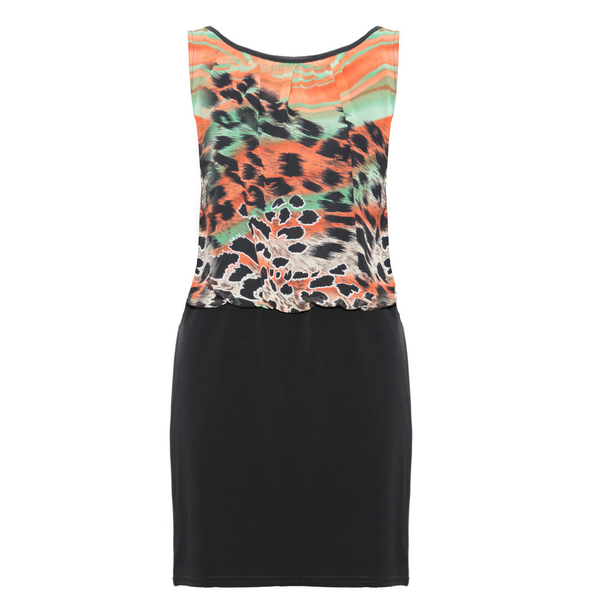 Animal Print Overlay Bodycon Dress Preview